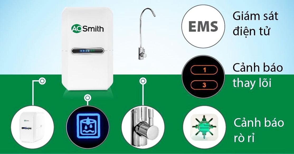 Máy lọc nước Aosmith AR75-A-S-1E thông minh với hệ thống kiểm soát điện tử EPM