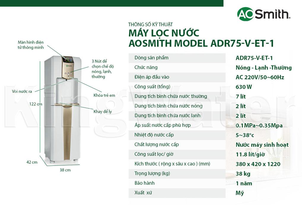 Thông số kỹ thuật máy lọc nước nóng lạnh Aosmith ADR75 V-ET-1