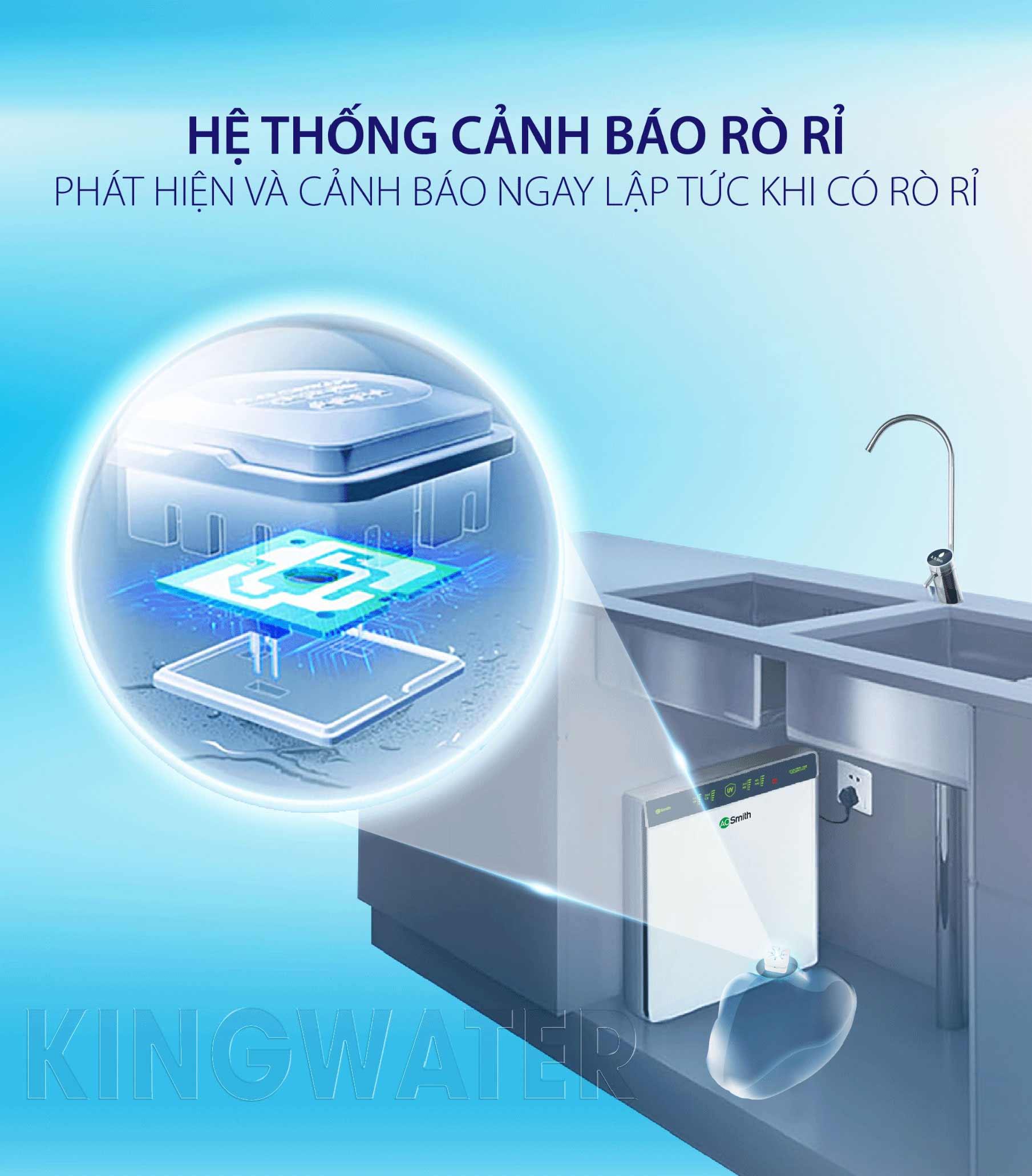 Máy lọc nước Ao Smith AR600 U3 với hệ thống cảnh báo rò rỉ giúp phát hiện ngay lập tức khi có rò rỉ