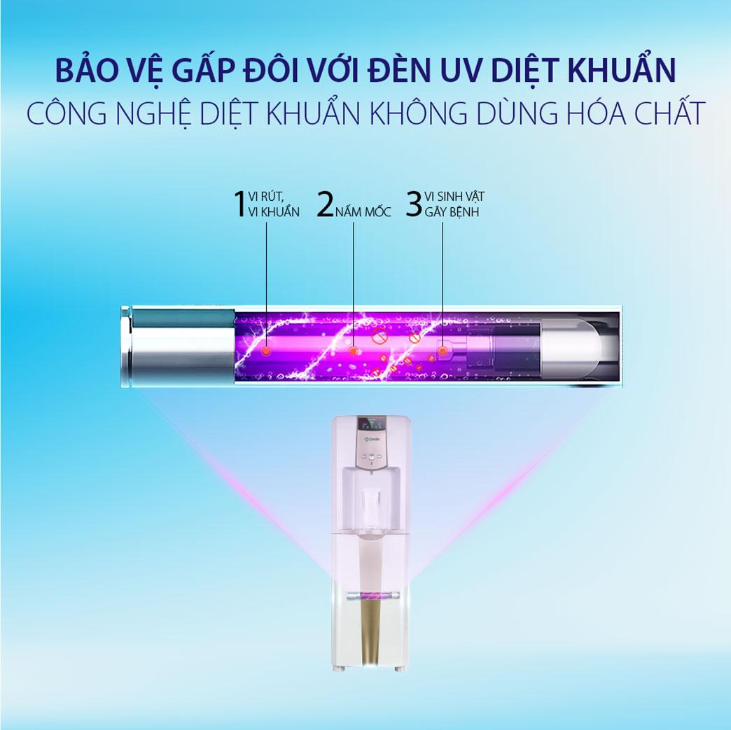 Đèn UV trong máy lọc nóng lạnh Ao Smith ADR75-VET1 giúp diệt khuẩn đến 99,99%