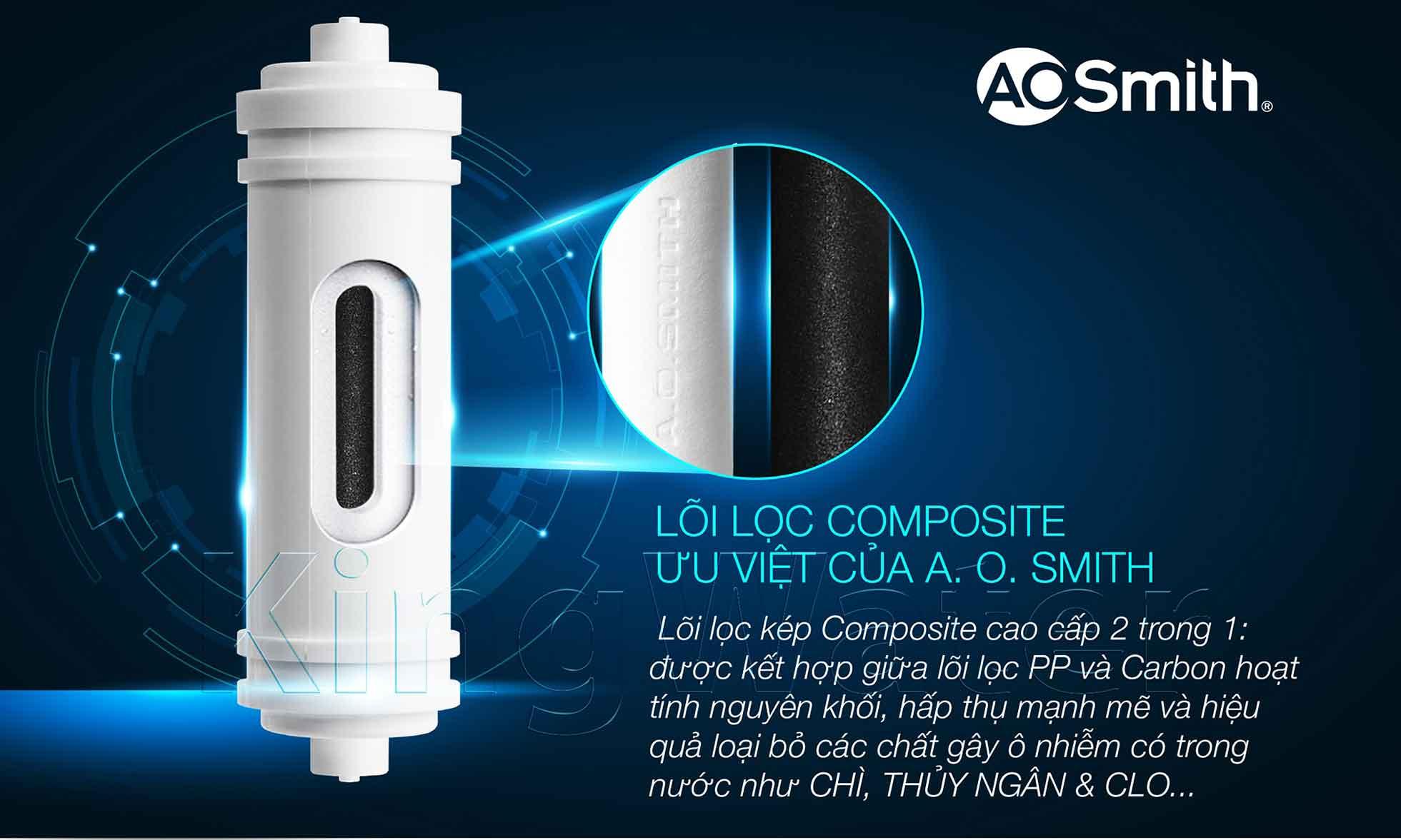 Bước 1 & 2 của máy Ao Smith A-S-H1 là bộ lọc Compossite