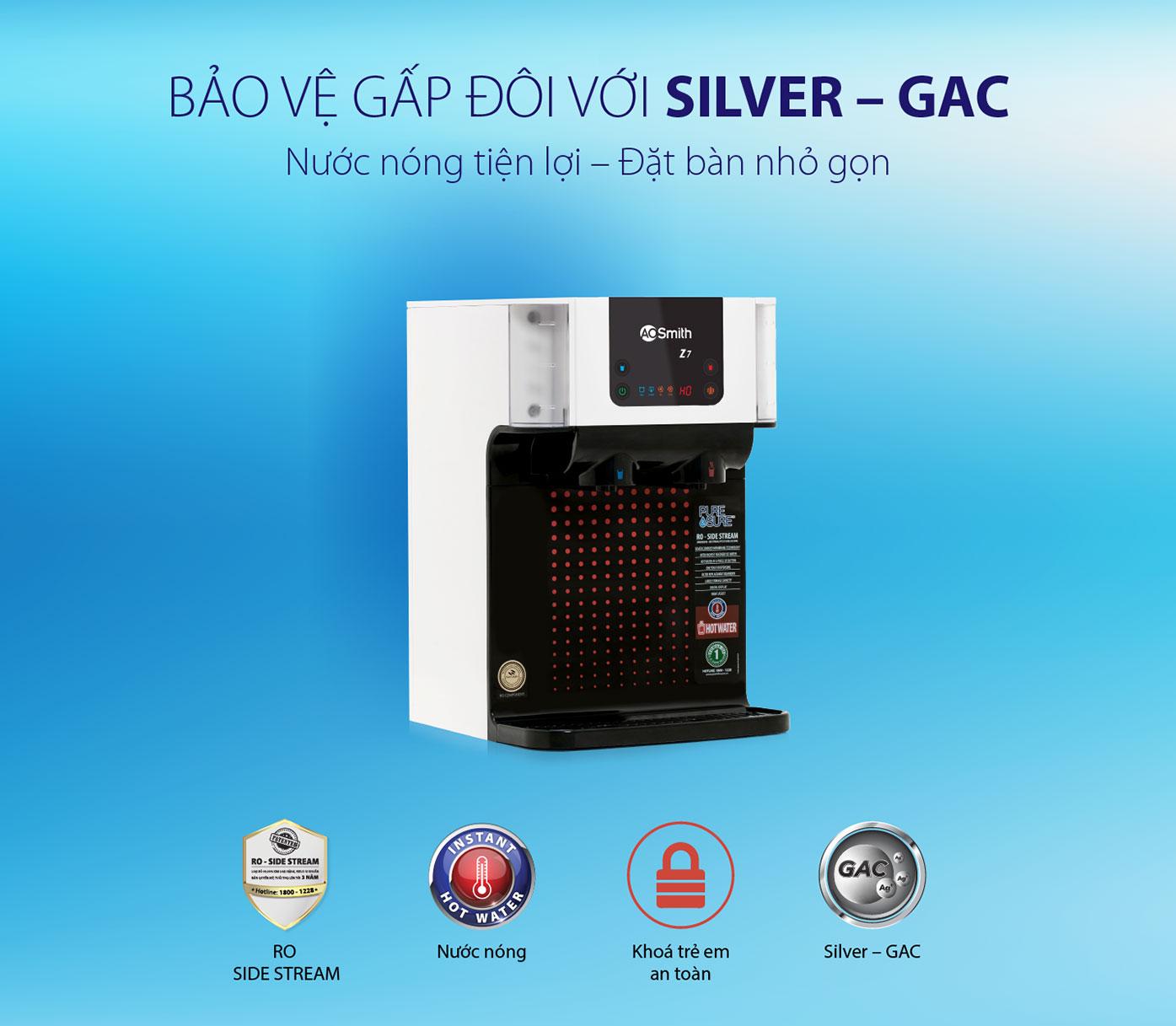 Máy lọc nước Ao Smith Z7 được bảo vệ gấp đôi với lõi Silver - GAC