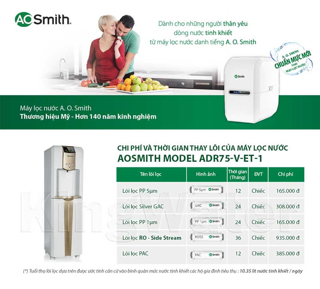 Thời gian & Chi phí thay các lõi lọc của máy Ao Smith ADR75-V-ET-1