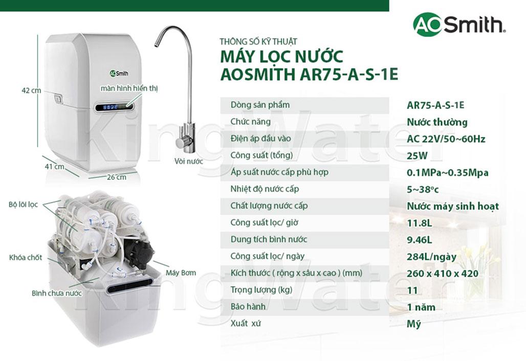 Thông số kỹ thuật máy lọc A.O.Smith AR75-A-S-1E