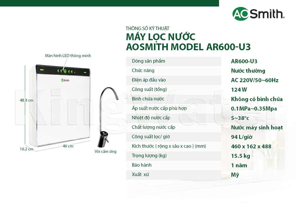 Các tính năng kỹ thuật của máy lọc nước Aosmith AR600-U3