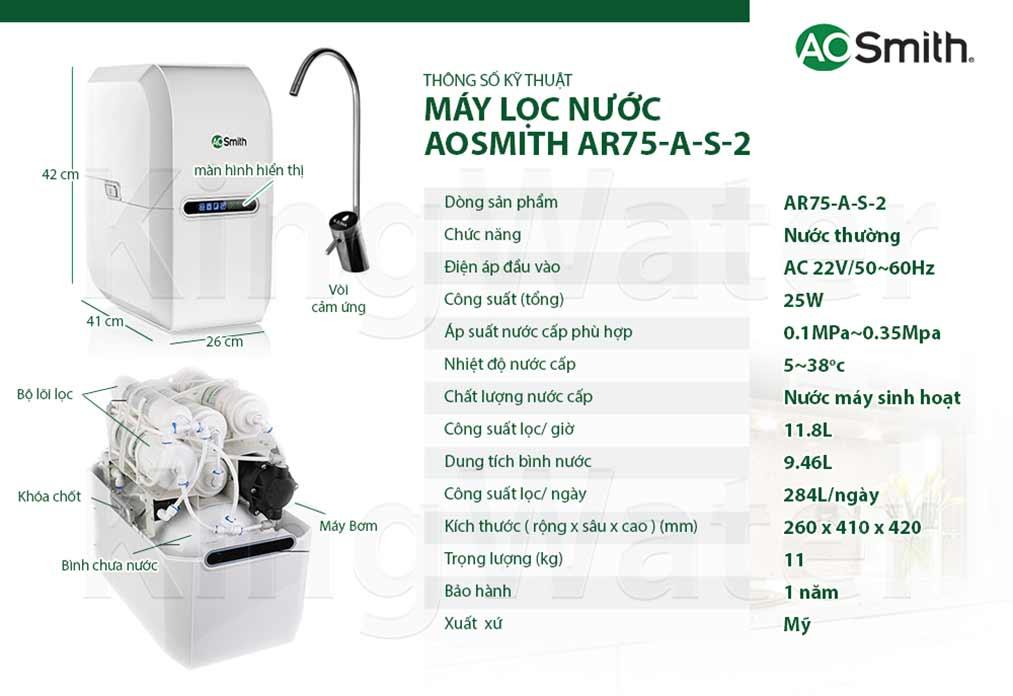 Thông số kỹ thuật - Ao Smith AR75-A-S-2