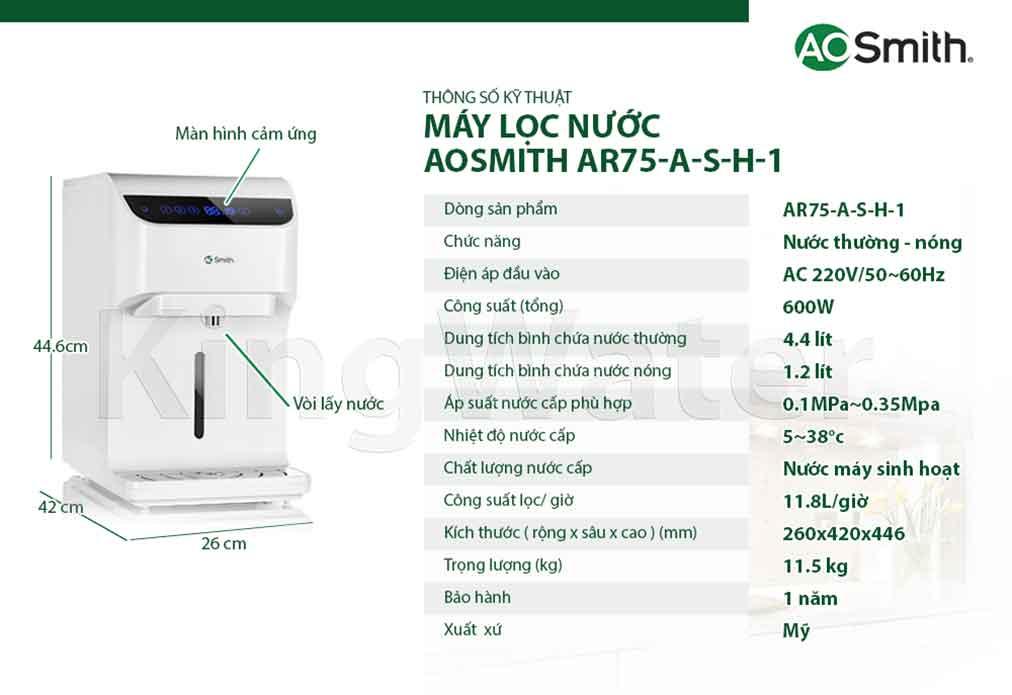 Thông số kỹ thuật của máy lọc nước Ro Aosmith AR75-A-S-H1