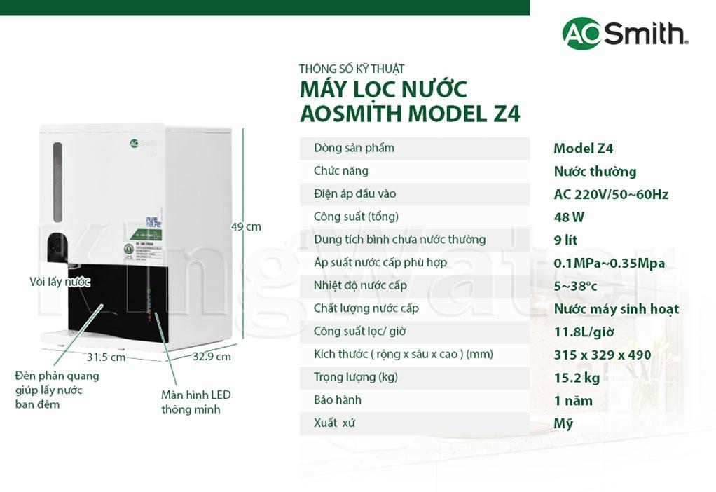 Thông số kỹ thuật của máy lọc nước Z4