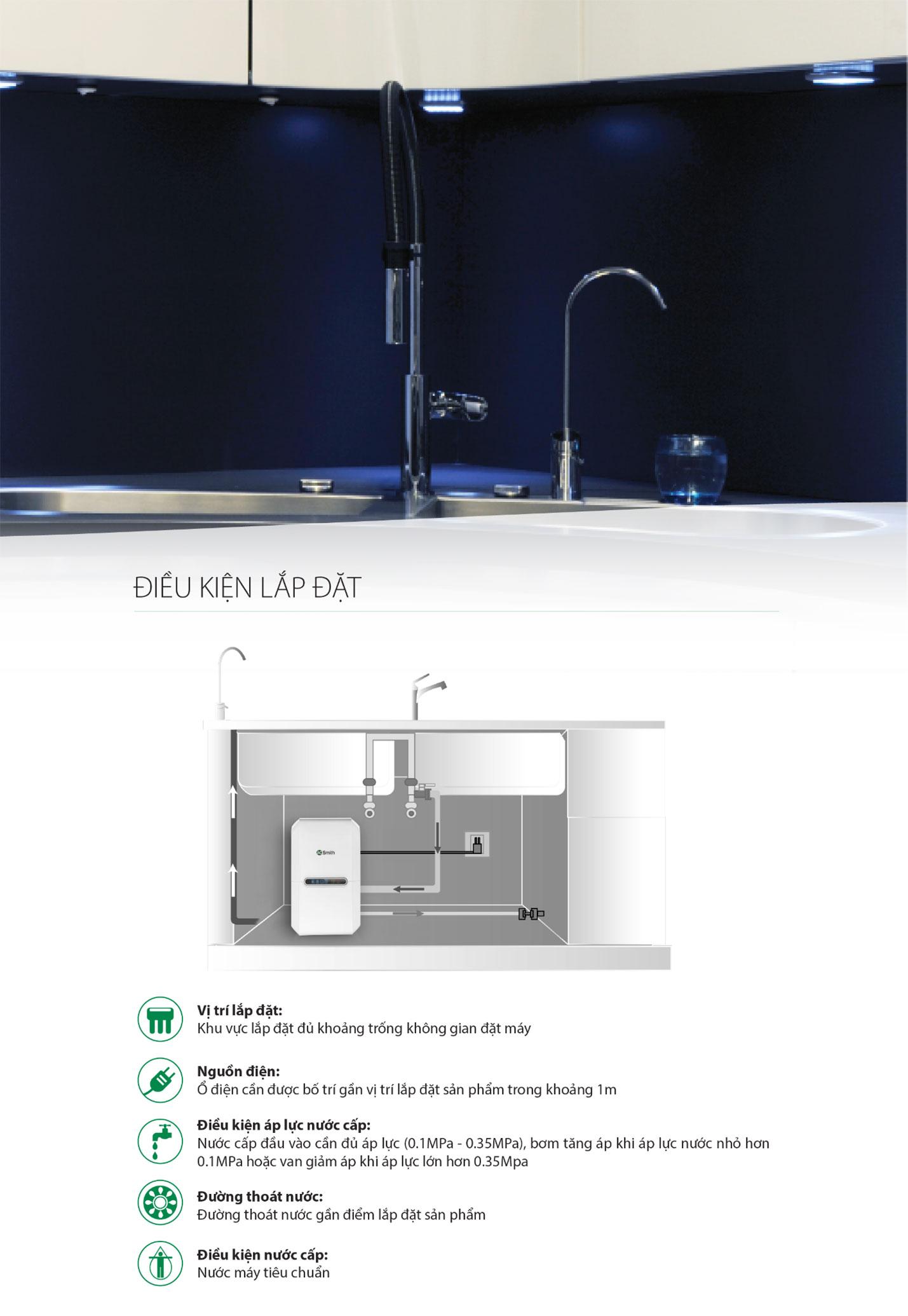 Điều kiện lắp đặt của máy lọc nước Aosmith G2
