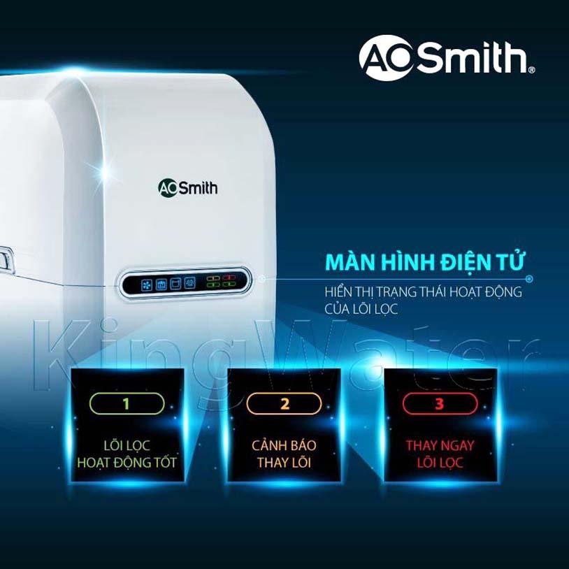 Máy lọc nước Aosmith G2 cảnh báo thay thế lõi lọc qua màn hình hiện thị trên thân máy