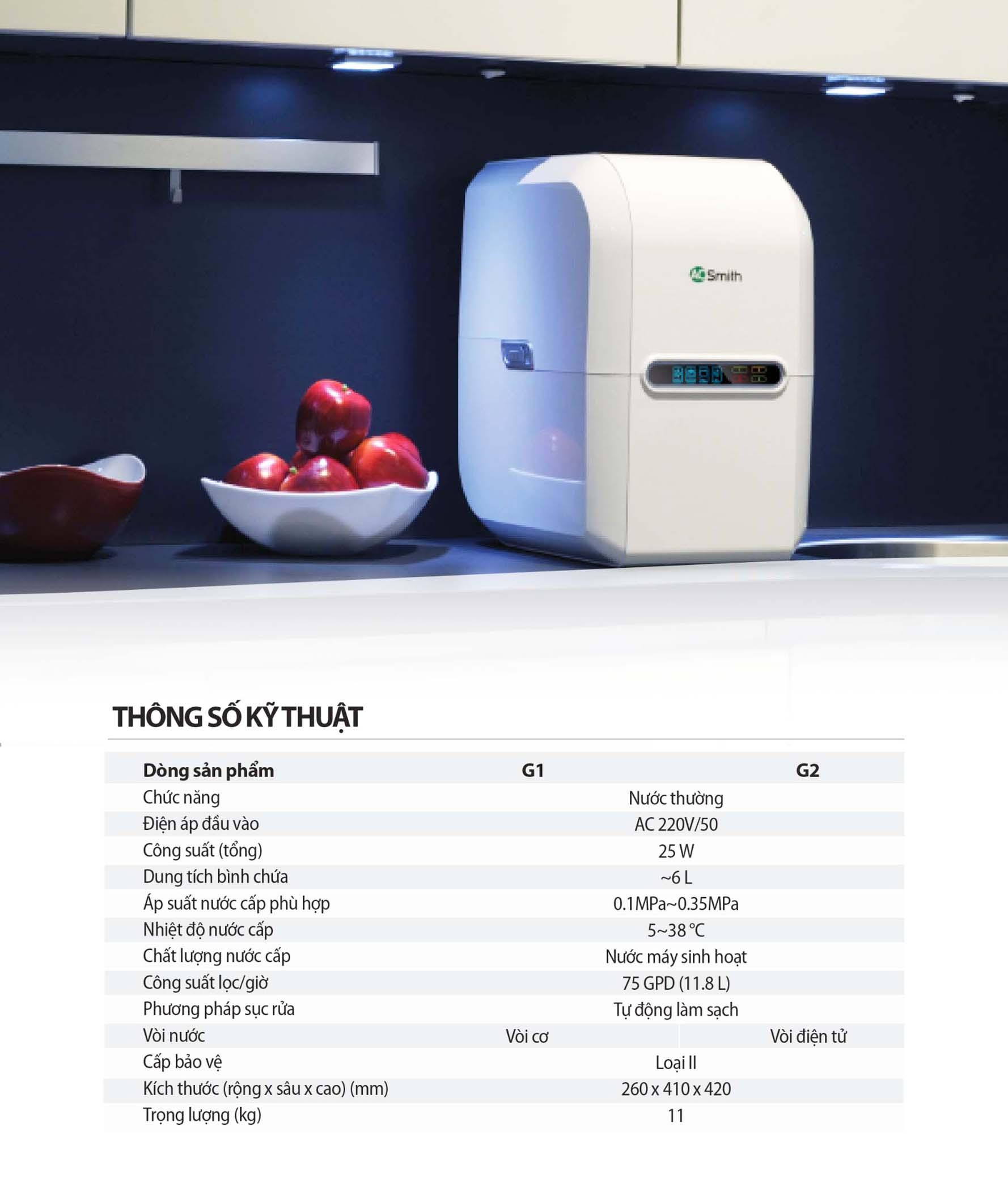 Thông số kỹ thuật máy lọc nước AOsmith G2