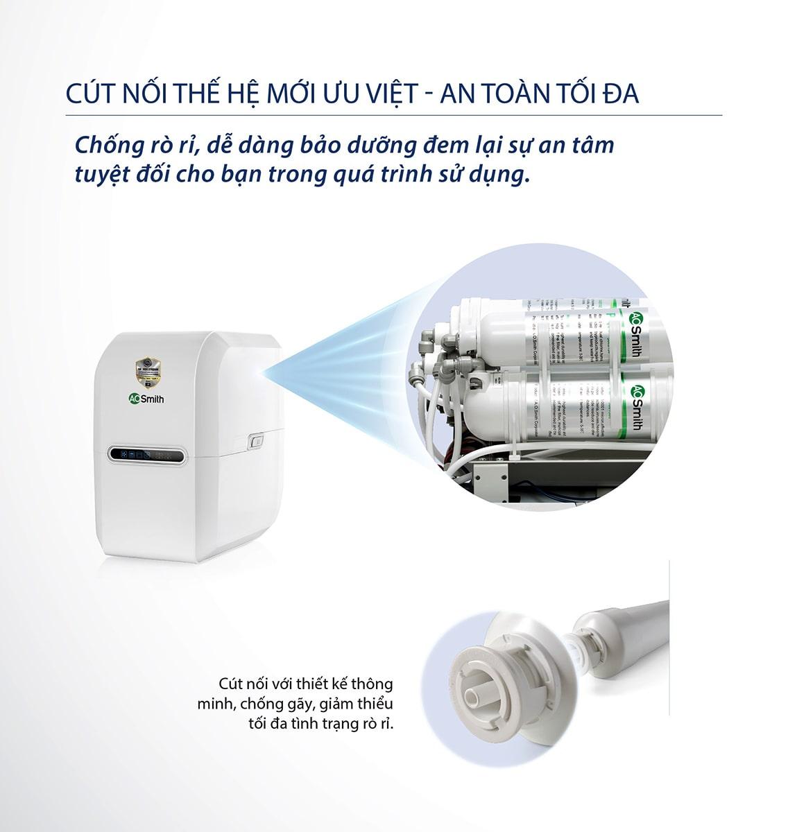 Máy lọc nước Ao Smith E2 có chức năng chống rò rỉ