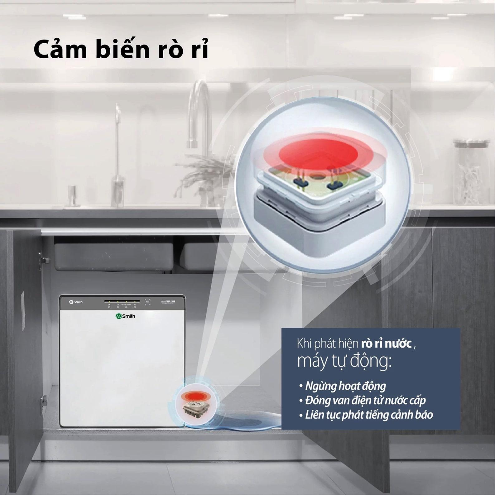 Máy lọc Aosmith K400 có thể tự động phát cảnh báo rò rỉ nước