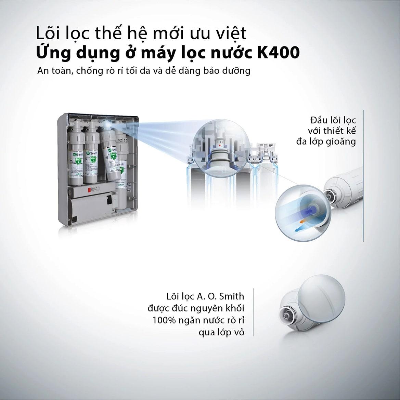 Aosmith K400 giúp giảm thiểu khả năng rò rỉ