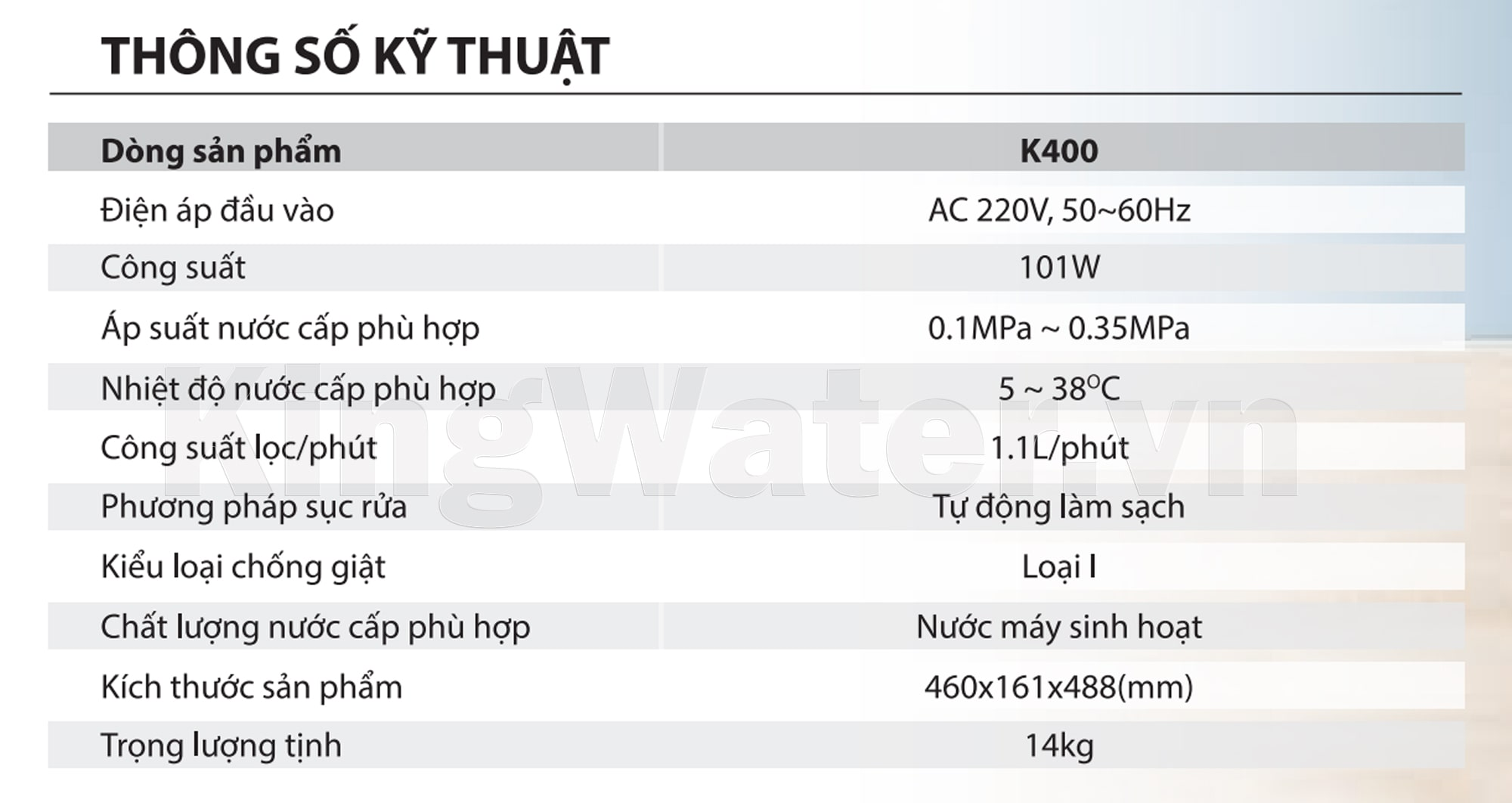 Thông số kĩ thuật máy lọc nước Ao Smith K400