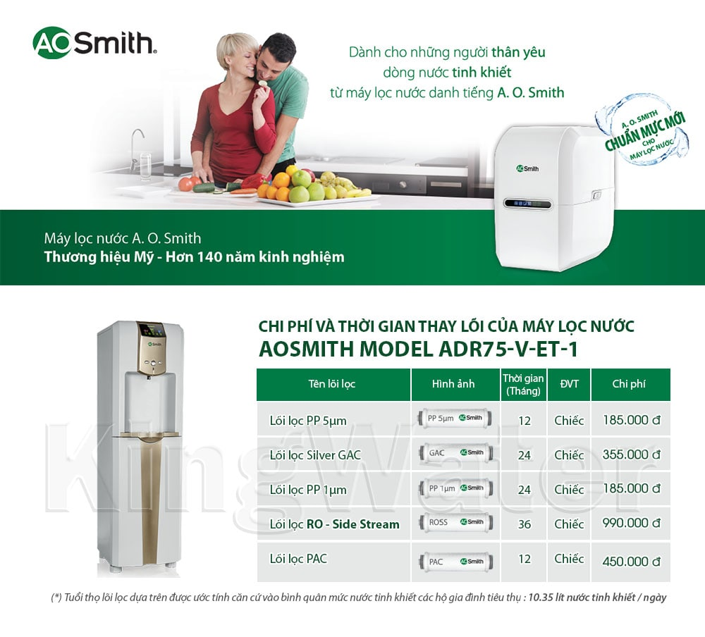 Thời gian và chi phí thay lõi của máy nóng lạnh Aosmith V-ET-1