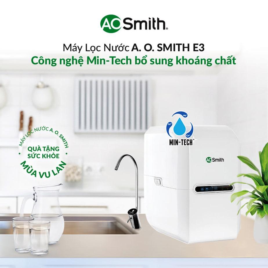 Ao Smith E3 tạo ra nguồn nước sạch an toàn và giàu khoáng chất cho cơ thể