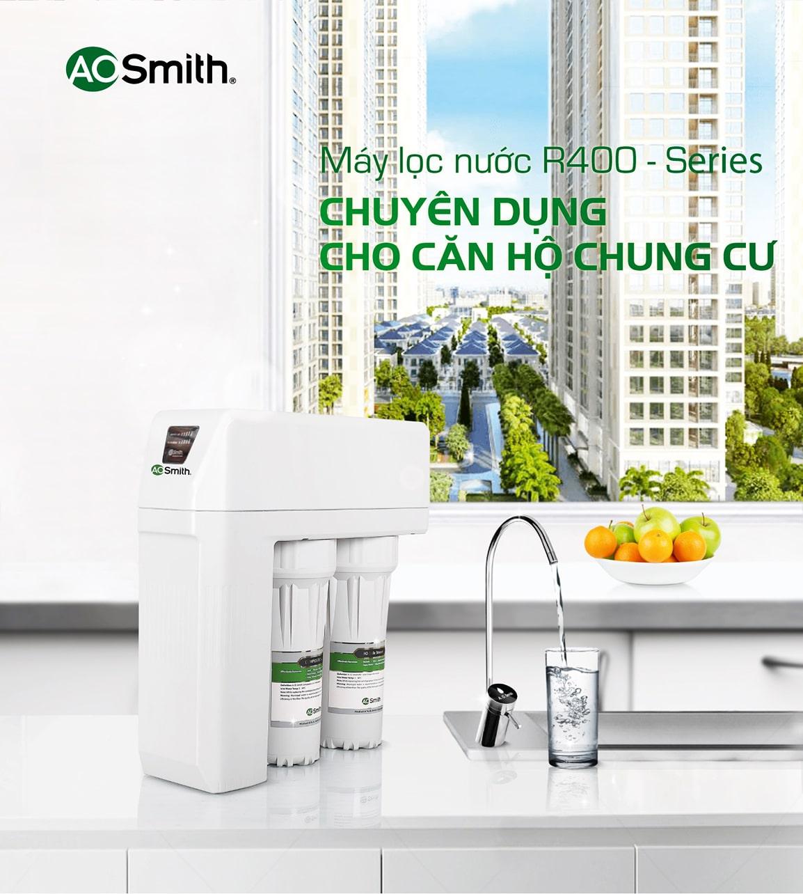 Máy lọc Aosmith R400E tuyệt đối an toàn cho các căn hộ chung cư