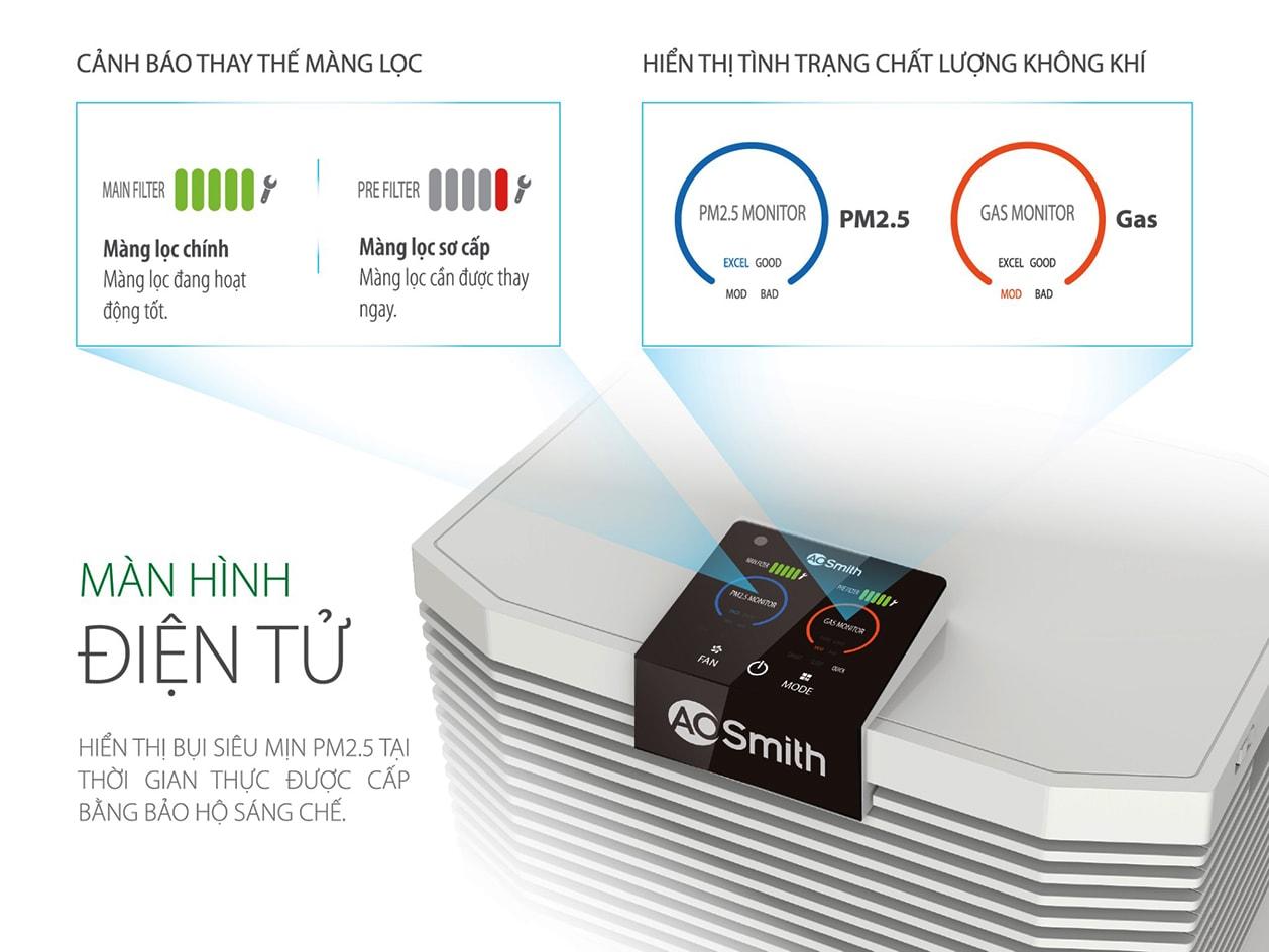 A.O.Smith KJ500F-B01 được trang bị màn hình cảm ứng điện tử vô cùng hiện đại